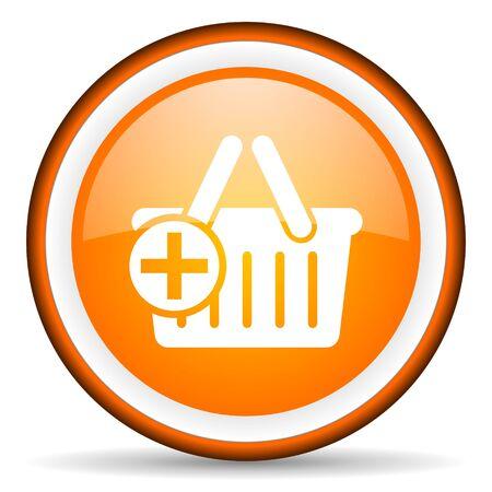 orange circle glossy web icon with pictogram on white background Stock Photo - 17318990
