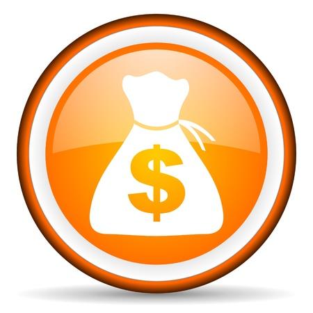 orange circle glossy web icon with pictogram on white background Stock Photo - 17318912
