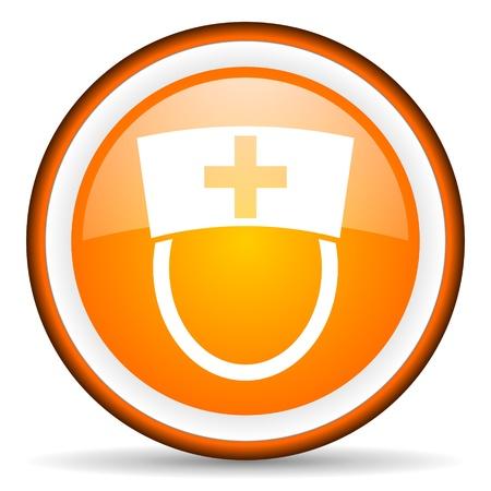 orange circle glossy web icon with pictogram on white background Stock Photo - 17318828