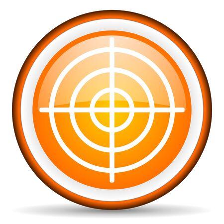 orange circle glossy web icon with pictogram on white background Stock Photo - 17319144