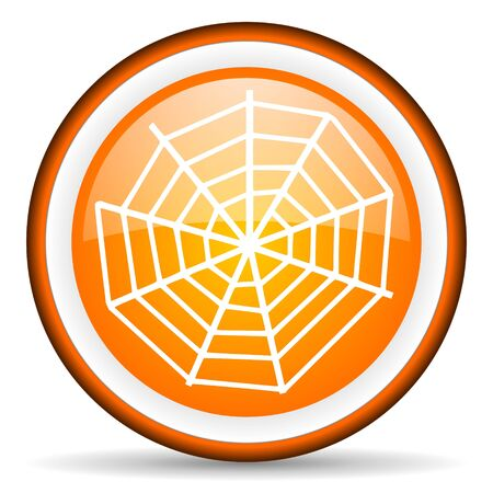 orange circle glossy web icon with pictogram on white background photo