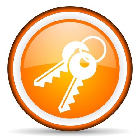 orange circle glossy web icon with pictogram on white background Stock Photo - 17319089