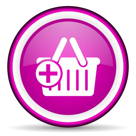 violet circle glossy web icon with pictogram on white background photo