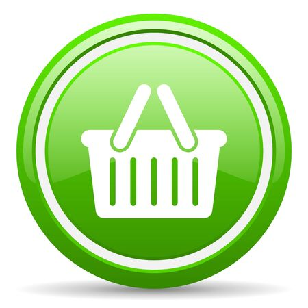 green circle glossy web icon with pictogram on white background Stock Photo - 17318268