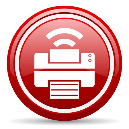 fax machine: red circle glossy web icon with pictogram on white background