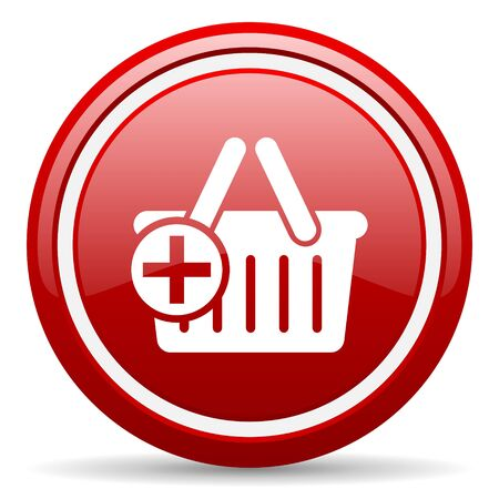 red circle glossy web icon with pictogram on white background Stock Photo - 17318530