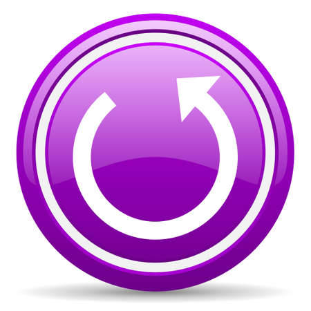 violet glossy circle web icon on white background with shadow Stock Photo - 17318458