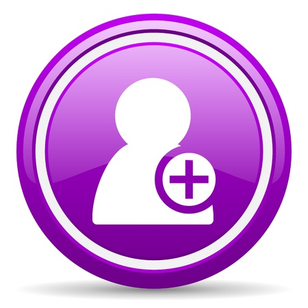 violet glossy circle web icon on white background with shadow photo