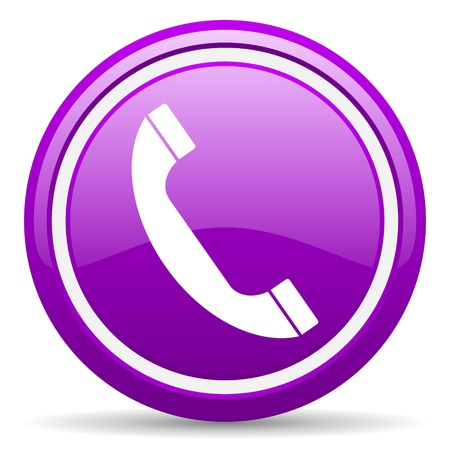 phone number: violet glossy circle web icon on white background with shadow