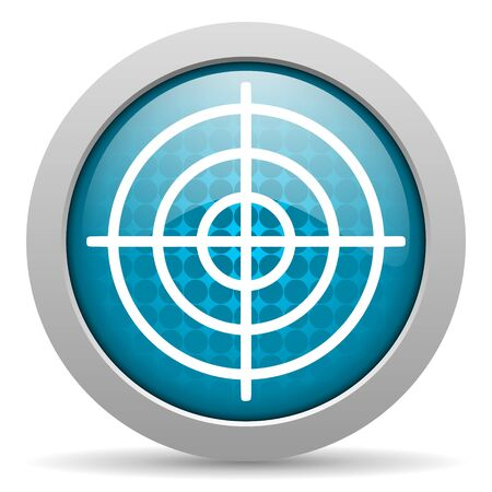 blue circle glossy web icon with pictogram on white background Stock Photo - 17428295