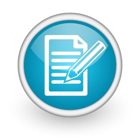 blauwe cirkel glanzende web pictogram met pictogram op witte achtergrond