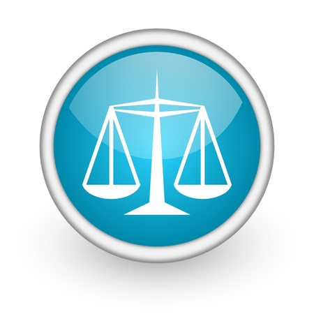 injustice: blue circle glossy web icon with pictogram on white background