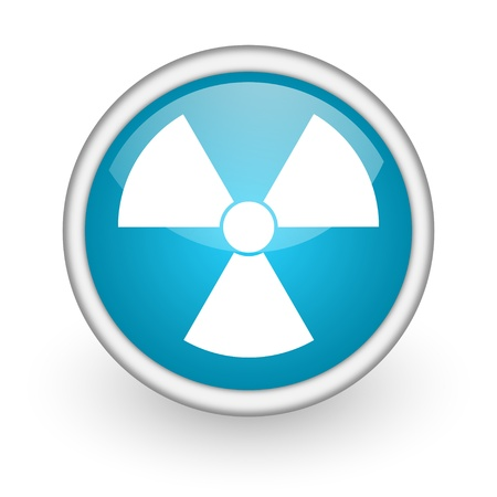 gamma radiation: blue circle glossy web icon with pictogram on white background
