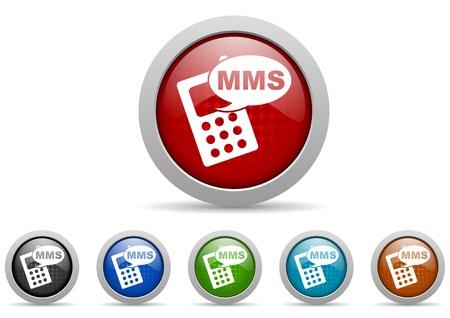 colorful web icons set on white background Stock Photo - 17427363