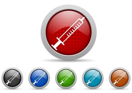 colorful web icons set on white background photo