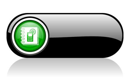 phonebook black and green web icon on white background   Zdjęcie Seryjne