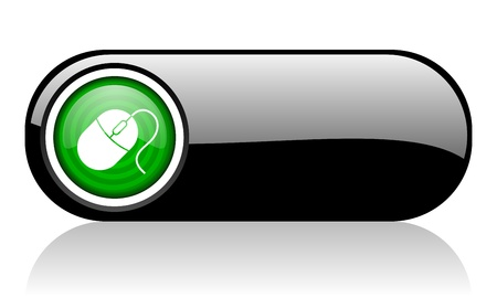 mouse black and green web icon on white background Stock Photo - 17507855