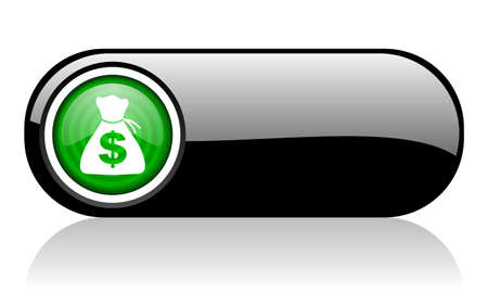 money black and green web icon on white background   photo
