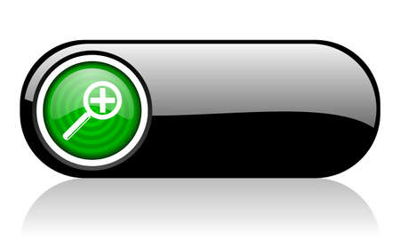 magnification black and green web icon on white background Stock Photo - 17508256