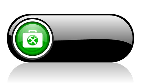 toolkit black and green web icon on white background   photo