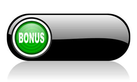 bonus black and green web icon on white background   photo