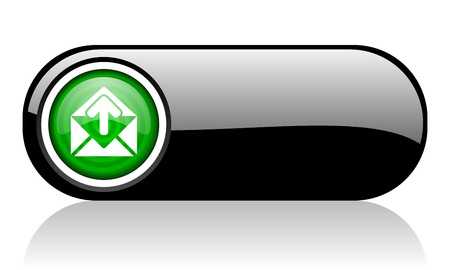 mail black and green web icon on white background mail  photo