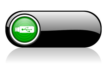 usb black and green web icon on white background   photo