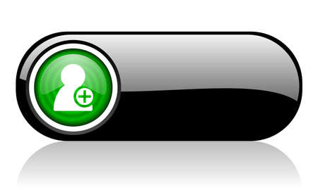 add contact black and green web icon on white background   photo