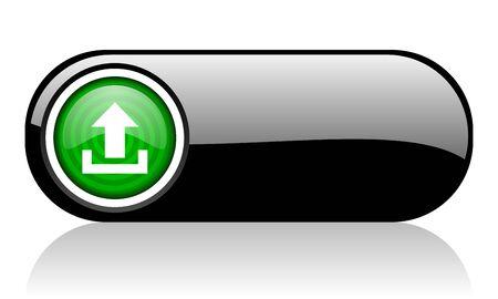 upload black and green web icon on white background Stock Photo - 17507218