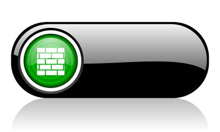 firewall black and green web icon on white background 