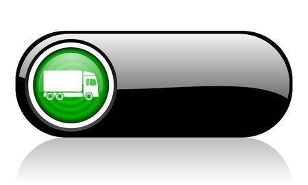 delivery black and green web icon on white background   photo