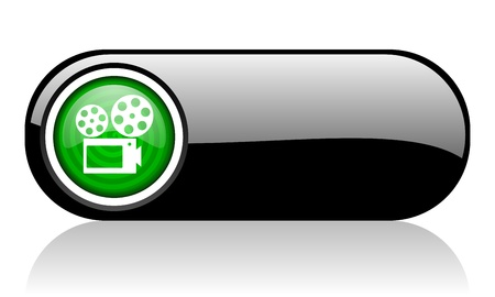 cinema black and green web icon on white background   photo