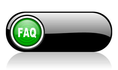 faq black and green web icon on white background   photo