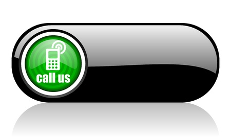 call us black and green web icon on white background   photo