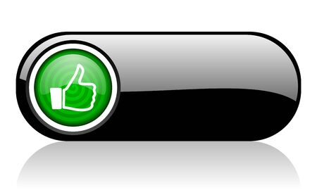 thumb up black and green web icon on white background 