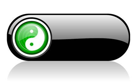 ying yang black and green web icon on white background   photo
