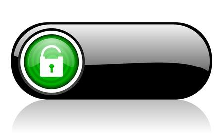 padlock black and green web icon on white background Stock Photo - 17507351
