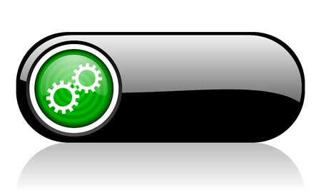 gears black and green web icon on white background   photo