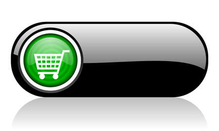 shopping cart black and green web icon on white background Stock Photo - 17508133