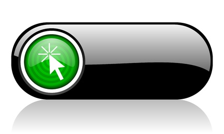 click here black and green web icon on white background Stock Photo - 17508141