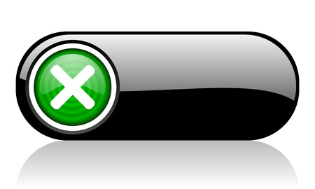 cancel black and green web icon on white background Stock Photo - 17507516