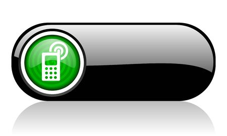 cellphone black and green web icon on white background   photo