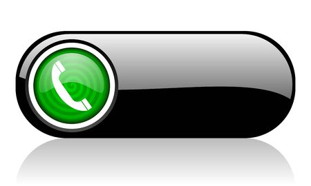 phone black and green web icon on white background   photo