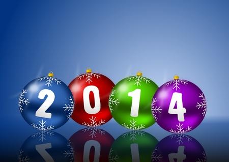2014 neues Jahr-Karte mit Weihnachtskugeln auf weißem Hintergrund