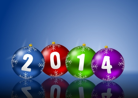 2014 new year card with christmas balls on white background photo