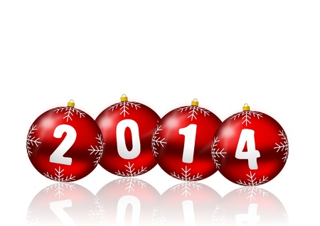 2014 new year card with red christmas balls on white background