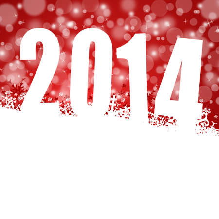 the turn of the year: 2014 new years illustration with snowflakes on red background