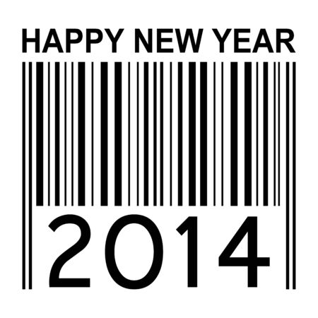 2014 new year illustration with barcode isolated on white background illustration