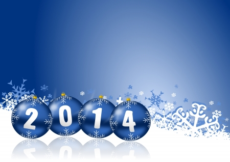 2014 new year card with blue christmas balls and white snowflakes
