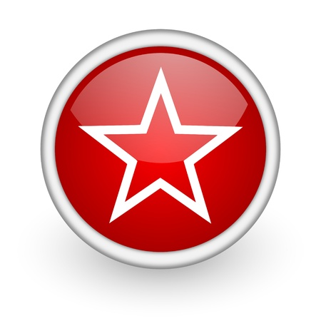 star red circle web icon on white background Stock Photo - 17519070